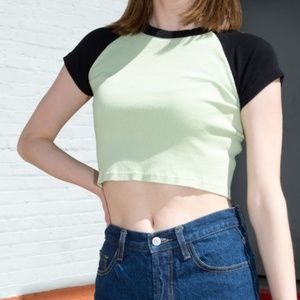 brandy melville green and black bella top